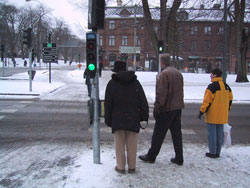 Figure 10-10. This intersection in Göteborg, Sweden has a bike lane (seen on left side of photo) with its own signal head, and an APS that is mounted on the same pole