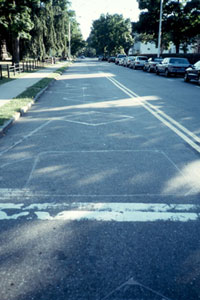 Figure 3-1. Photograph of vehicle detector loops in pavement