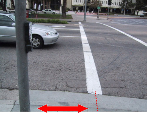 Figure 6-11. The MUTCD states that the APS should be within 5 feet of the crosswalk line