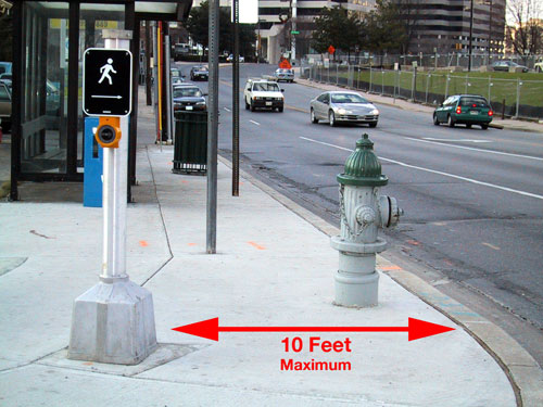 Figure 6-12. The APS should be within 6 feet of the curb, with an exception that allows APS to be placed up to 10 feet from the curb, if necessary