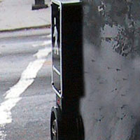 Figure 6-24. Typical installation without extra mounting plate, with wire running from inside the metal pole into the back of the device