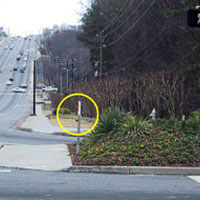 Figure 6-28. A stub pole is used to locate the pushbutton beside the sidewalk