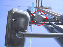 Figure 6-43. This photo shows a view from below of a speaker attached to the pedhead support and aimed straight down