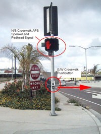 Figure 6-44. The pedhead and APS speaker for the north/south crosswalk is located over the pushbutton for the east/west crosswalk