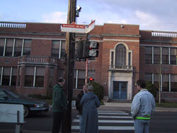 Figure 9-3. APS mounted over 12 feet high on the pole broadcast speech messages at this location in Portland. City engineers expressed concerns about intelligibility of the message.