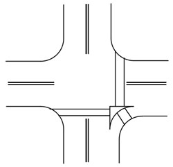 Figure D-5. Crosswalks at a channelized turn island