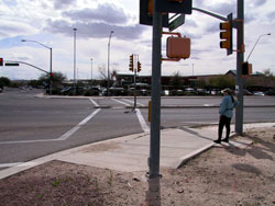 Figure D-7. This crosswalk is defined as skewed because it is timed for median crossing (two-stage) and a blind pedestrian might miss the median due to the bent crosswalk.